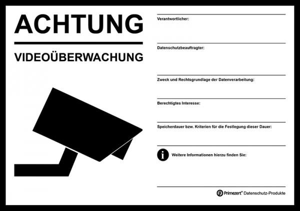 Hinweis-Aufkleber Video-Überwachung transparent| beschriftbar